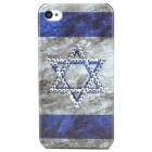 Flag of Israel Pattern Plastic Back Case for Iphone 4 / 4S - Blue + Grey + Translucent