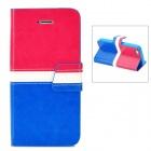 BOXIER LX-BXI4 Protective PU Leather Case for iPhone 5 - Deep Pink + White + Blue