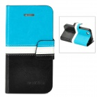 BOXIER LX-BXI4 Protective PU Leather Case for Iphone 4 / 4S - Blue + White + Black