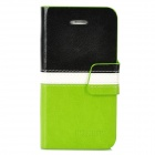 BOXIER LX-BXI4 Protective PU Leather Case for Iphone 4 / 4S - Black + White + Green