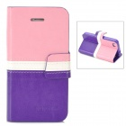 BOXIER LX-BXI4 Protective PU Leather Case for Iphone 4 / 4S - Pink + White + Purple