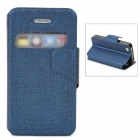 Stylish Protective PU Leather Case w/ Display Window for Iphone 4 / 4S - Dark blue