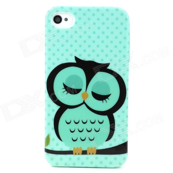 Cute Owl Pattern Protective TPU Back Case for Iphone 4 / 4S - Multicolored stylish 3d eagle pattern protective abs pc back case for iphone 4 4s multicolored