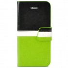 BOXIER LX-BXI4 Protective PU Leather Case for Iphone 5 - Black + White + Green
