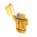 186 Stylish Windproof Butane Gas Jet Lighter w/ Pop Open Lid - Yellow