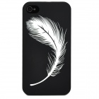 Glow-in-the-Dark Relief Feather Style Protective Plastic Back Case for Iphone 4 - Black + Green
