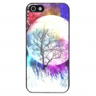 Glow-in-the-Dark Relief Round Moon Style Protective Plastic Back Case for Iphone 5 - Purple