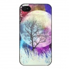 Glow-in-the-Dark Relief Round Moon Style Protective Plastic Back Case for Iphone 4 / 4S - Purple
