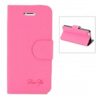 Mouse Grain Style Protective PU Leather + PC Case for iPhone 5 - Deep Pink