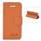 Mouse Grain Style Protective PU Leather + PC Case for Iphone 5 - Brown