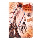 Retro Eiffel Tower & Envelope Pattern PU Leather Flip Case w/ Auto Sleep for Ipad 2 / 3 / 4 - Grey