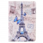 Retro Eiffel Tower & Stamp Pattern PU Leather Flip Case w/ Auto Sleep for Ipad 2 / 3 / 4 - Grey