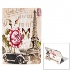 Retro Eiffel Tower & Rose Pattern PU Leather Flip Case w/ Auto Sleep for Ipad 2 / 3 / 4 - Grey