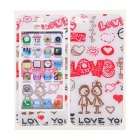 Cartoon Pattern Resin Back + Front Film Protector / Sticker for Iphone 5 - White + Red