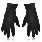Capacitive Screen Touch Warp-knitted Velvet Gloves for Iphone / Tablet + More - Black (Pair)