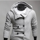 Fashionable Hitting Scene Leisure Slim fit Men's Hooded Cardigan - Light grey (Size-XL)