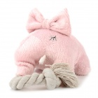 Doglemi DM50051 Cute Elephant Styke Cotton Chew Knot Toy w/ Sound for Pet Dog - Pink