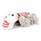 Doglemi DM50050 Red Strip Cotton Plush Dog Pet Toy - Red + Off-white + Blue