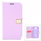 Hellodeer Ailun Protective Flip-open PU Leather Case w/ Card Slot for Samsung Galaxy S4 - Purple