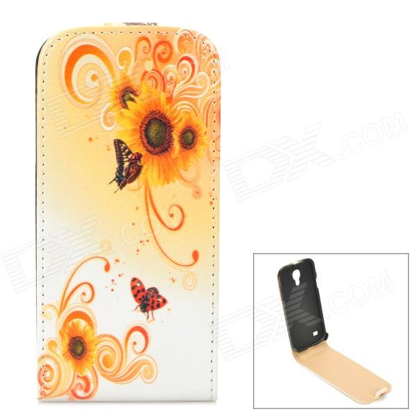 Flower Style Flip-Open PU Leather Case for Samsung Galaxy S4 Mini i9190 - Orange + White + Red компрессор abac o20p montecarlo