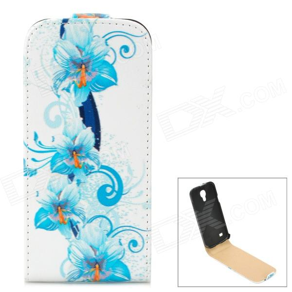 Flower Style Protective Flip-Open PU Leather Case for Samsung Galaxy S4 Mini i9190 - Blue + White