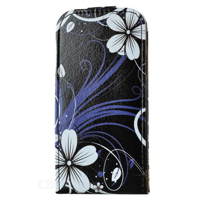 Flower Style Flip-Open PU Leather Case for Samsung Galaxy S4 Mini i9190 - Black + White