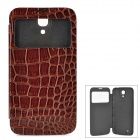 Crocodile Skin Style Protective PU Leather Case w/ Display Window for Samsung i9200 - Brown