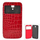 Crocodile Skin Style Protective PU Leather Case w/ Display Window for Samsung i9200 - Wine Red