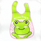 Cute Frog Pattern Waterproof Bib - Green + Pink