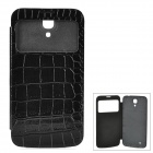 Crocodile Skin Style Protective PU Leather Case w/ Display Window for Samsung i9200 - Black