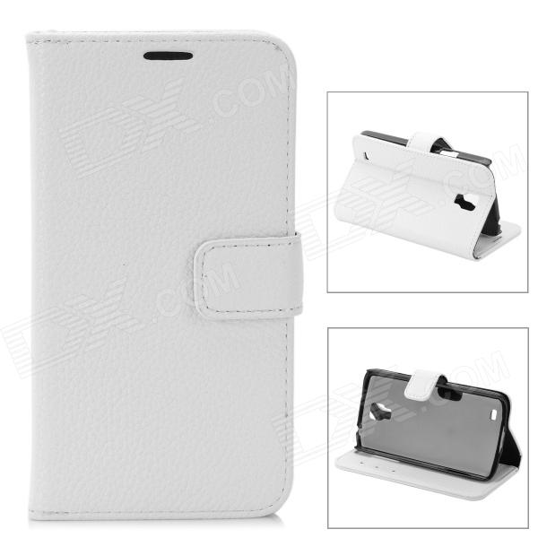 Lychee Grain Style Protective PU Leather Case for Samsung Galaxy S4 Active i9295 - White protective flip open pu case w stand card slots for samsung galaxy s4 active i9295 black