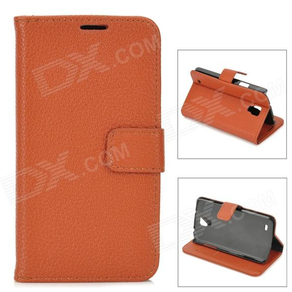 Lychee Grain Style Protective PU Leather Case for Samsung Galaxy S4 Active i9295 - Brown cool snake skin style protective pu leather case for samsung galaxy s3 i9300 brown