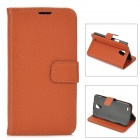 Lychee Grain Style Protective PU Leather Case for Samsung Galaxy S4 Active i9295 - Brown