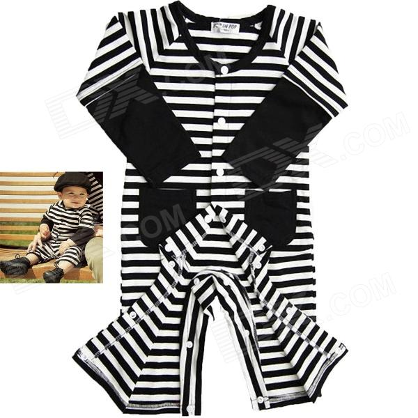 Hip-hop Cat Cotton Strips Pattern Baby's Jumpsuits - Black + white