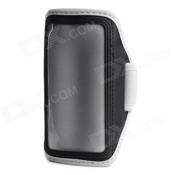 Convenient Diving Fabric Arm Bag w/ Transparent Window for Motorola X Phone - Black + Gray