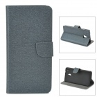 Stylish Protective PU Leather Case for HTC M7 Mini M4 - Grey Black