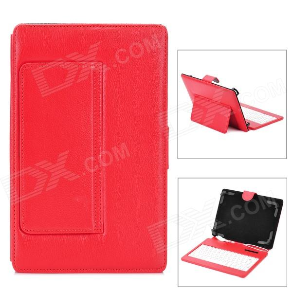 Protective Bluetooth v3.0 80-Key Keyboard PU Leather Case w/ Back Holder for 7~8 Tablet PC - Red ios windows android universal bluetooth keyboard abs leather case for 7 8 9 9 7 10 1 tablet pc case support russia keyboard