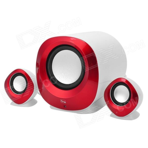 XiaoKe S81 USB 2.0 Wired 2.1-Channel Bass Speaker Set for Computer - Deep Red + White eu standard usb charger adapter