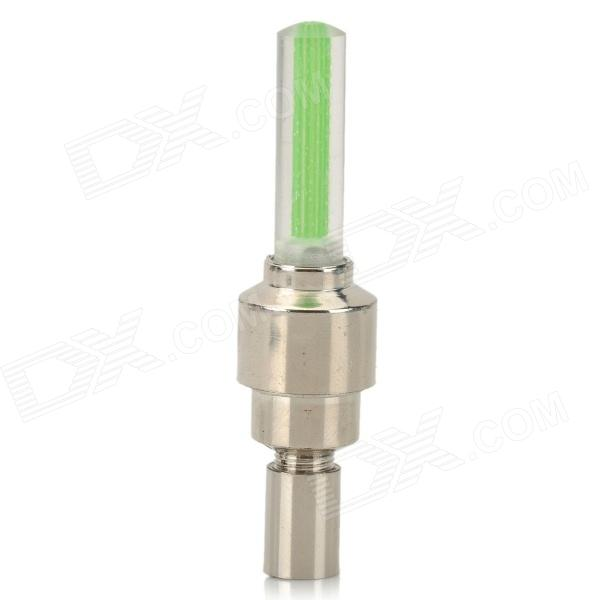 LED Flash Tyre Wheel Valve Cap Lamp for Bicycle / Car - Green + Silver (3 x L1130)