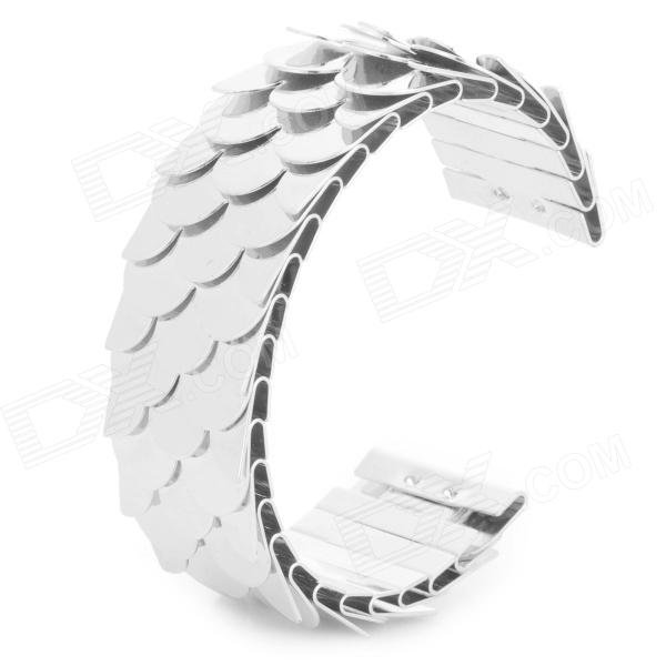 Fish Scale Style U Type Bracelet for Women - Silver automatic dumpling gyoza press maker 7 6cm diameter sized