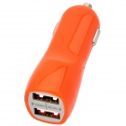 Dual-USB Car Cigarette Lighter Charger Power Adapter for Ipod / Iphone - Orange