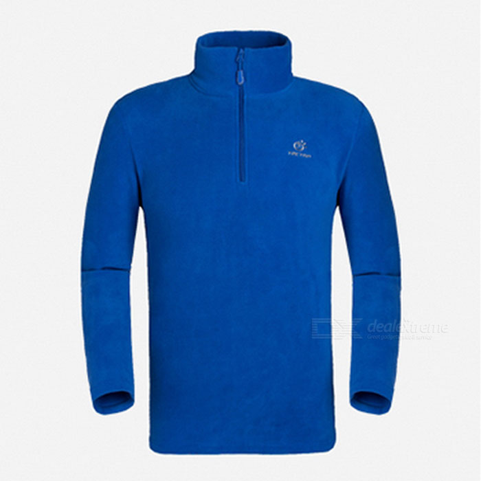 TECTOP Men's Stylish Cozy Warm Fleece Long Sleeve Blouse - Blue (XXL)