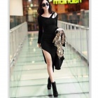 Woman's Sexy Skinny Long Sleeve Cotton Dress - Black (L)