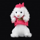 Cute Dancing Waving Hand Plush Dog Electric Music Toy - White + Deep Pink (4 x AA)