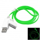 USB 2.0 to 30-Pin Data/Charging Cable w/ Blue LED Flashing for iPhone 4 / 4S - White + Green (100CM)