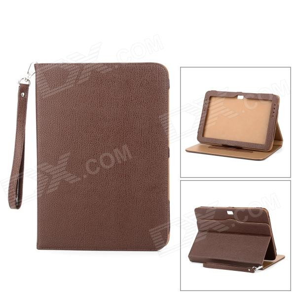 Lychee Grain Style Protective 360 Degree Rotation PU Leather Case for Samsung N8000 - Brown protective 360 degree rotation pu leather case for samsung p6220 brown
