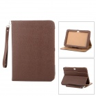 Lychee Grain Style Protective 360 Degree Rotation PU Leather Case for Samsung N8000 - Brown
