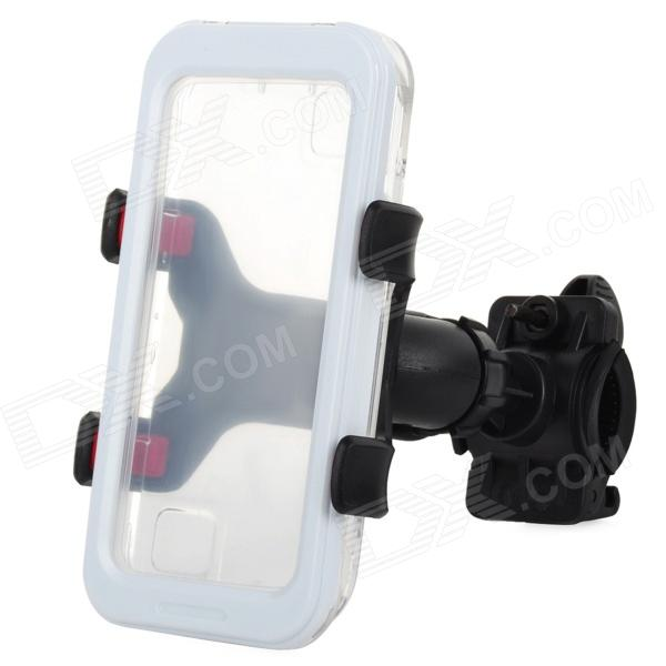Convenient Bike Mounted Water Resistant Cellphone Case w/ Holder Set for Iphone 4S / 4 / 5 - White m09 motorcycle bicycle water resistant holder stand for iphone 4 4s black