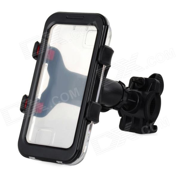 Convenient Bike Mounted Water Resistant Cellphone Case w/ Holder Set for Iphone 4S / 4 / 5 - Black m09 motorcycle bicycle water resistant holder stand for iphone 4 4s black