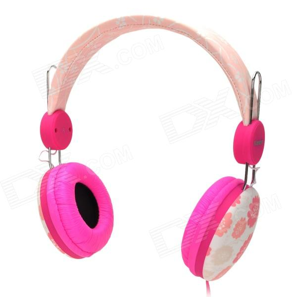 Kanen ip-810 Fashion Stereo Headset Headphone w/ Microphone - Pink + White
